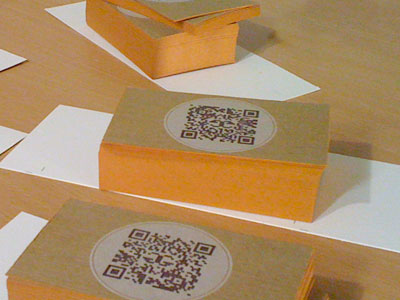 stacks of business cards showing the orange edge-painting