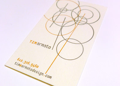 Photo of letterpress business card